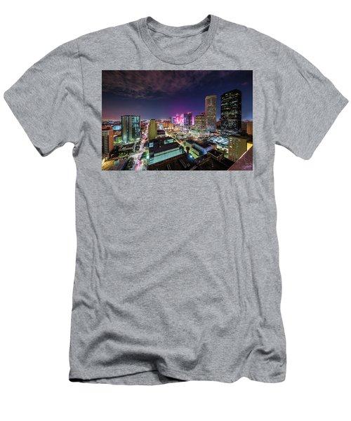 Super Bowl Li Down Town Houston Fireworks Men's T-Shirt (Slim Fit) by Micah Goff