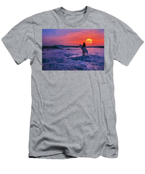 Surfer On Rock Looking Out From Blowing Rocks Preserve On Jupiter Island Men's T-Shirt (Athletic Fit)
