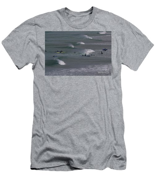Men's T-Shirt (Slim Fit) featuring the photograph Photographs Of Cornwall Surfers At Fistral by Brian Roscorla