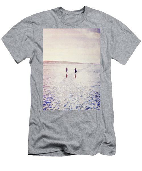 Men's T-Shirt (Slim Fit) featuring the photograph Surfers In The Snow by Lyn Randle