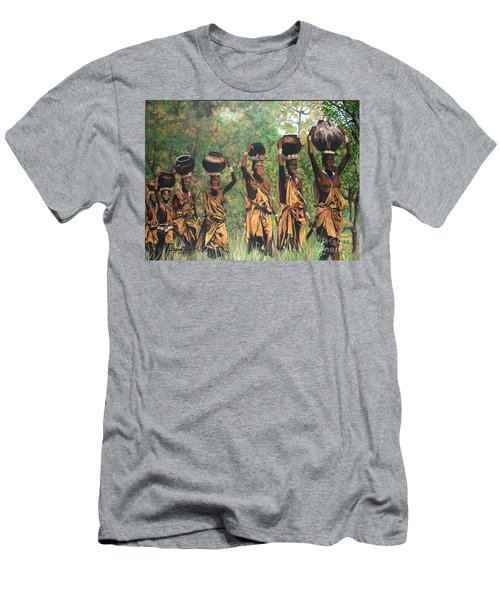Men's T-Shirt (Slim Fit) featuring the painting Surma Women Of Africa by Sigrid Tune