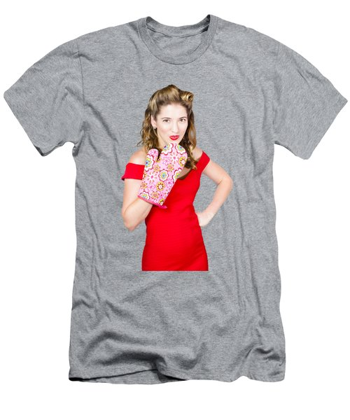 Surprise Cooking Pinup Woman With Cook Mitt Men's T-Shirt (Athletic Fit)