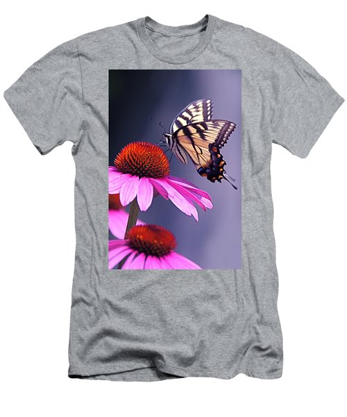 Men's T-Shirt (Slim Fit) featuring the photograph Swallowtail And Coneflower by Byron Varvarigos