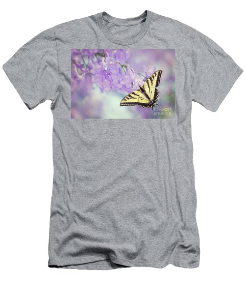 Swallowtail On Purple Flowers Men's T-Shirt (Athletic Fit)