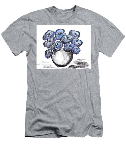 Sweet Blue Poppies Men's T-Shirt (Athletic Fit)