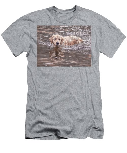 Swimming Puppy Men's T-Shirt (Athletic Fit)