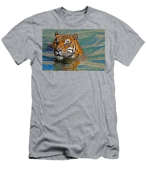 Swimming Tiger Men's T-Shirt (Athletic Fit)