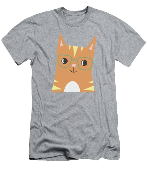 Tabby Cat With Glasses Men's T-Shirt (Athletic Fit)