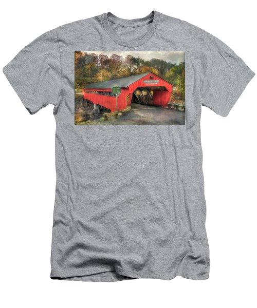Men's T-Shirt (Athletic Fit) featuring the photograph Taftsville Covered Bridge Vermont by Joann Vitali