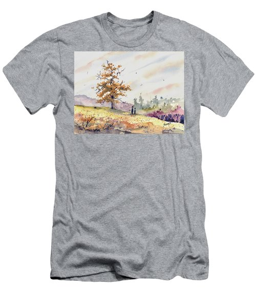 Men's T-Shirt (Athletic Fit) featuring the painting Talking To Dad by Sam Sidders