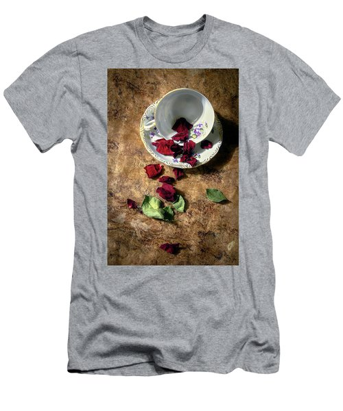 Teacup And Red Rose Petals Men's T-Shirt (Athletic Fit)