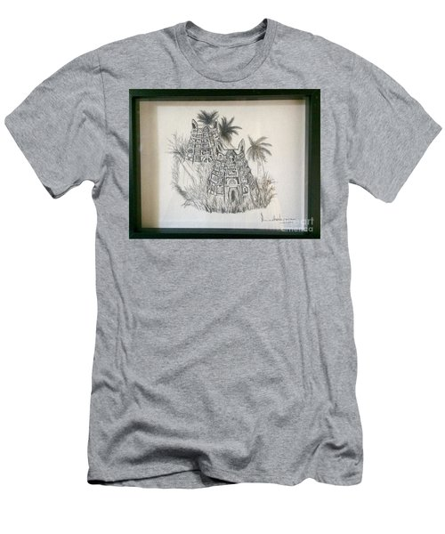 Men's T-Shirt (Slim Fit) featuring the painting Temple In Calligraphy Ink by Brindha Naveen