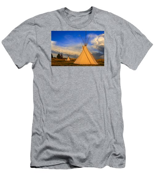 Tepees At Sunset In Montana Men's T-Shirt (Slim Fit) by Chris Smith