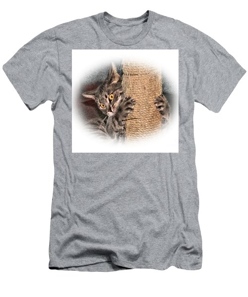Men's T-Shirt (Slim Fit) featuring the photograph Terrorizing The Scratching Post by Debbie Stahre