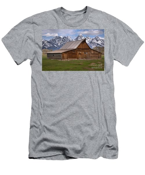 Tetons Towering Over The Moulton Barn Men's T-Shirt (Slim Fit) by Adam Jewell