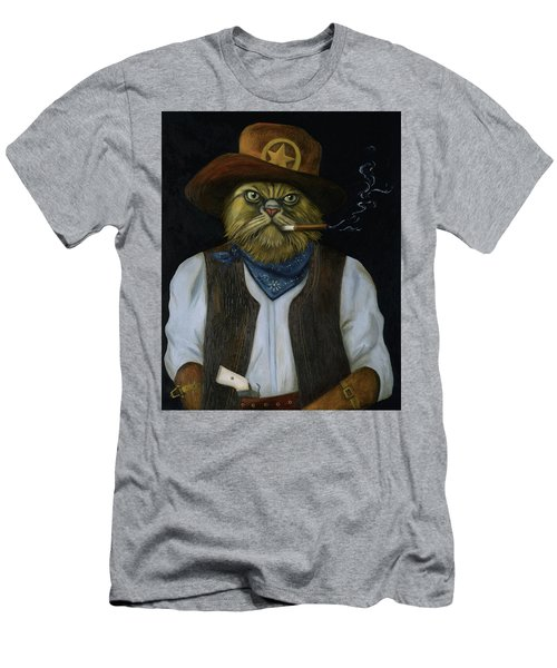 Men's T-Shirt (Slim Fit) featuring the painting Texas Cat With An Attitude by Leah Saulnier The Painting Maniac