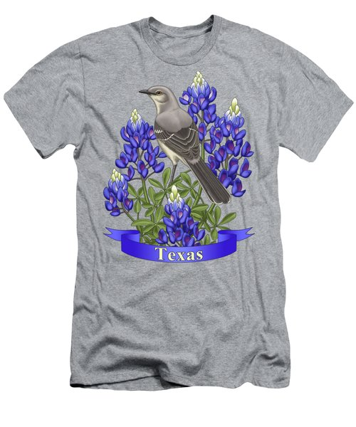 Texas State Mockingbird And Bluebonnet Flower Men's T-Shirt (Slim Fit) by Crista Forest