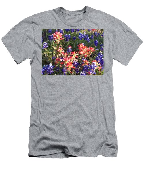 Men's T-Shirt (Slim Fit) featuring the painting Texas Wildflowers by Karen Kennedy Chatham