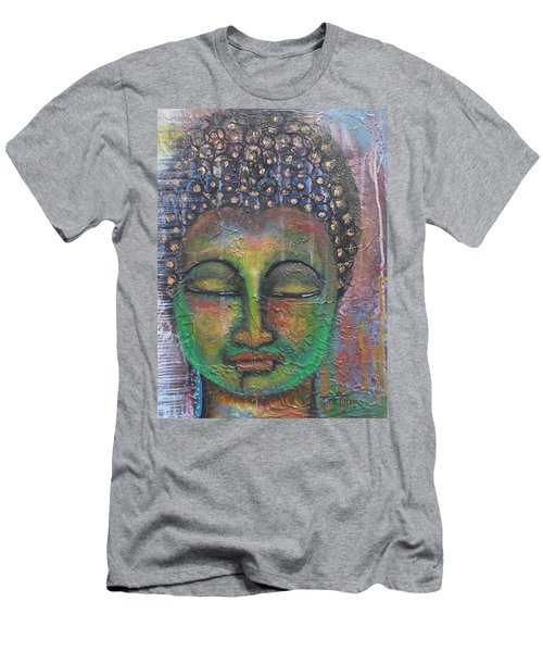 Men's T-Shirt (Slim Fit) featuring the painting Textured Green Buddha by Prerna Poojara
