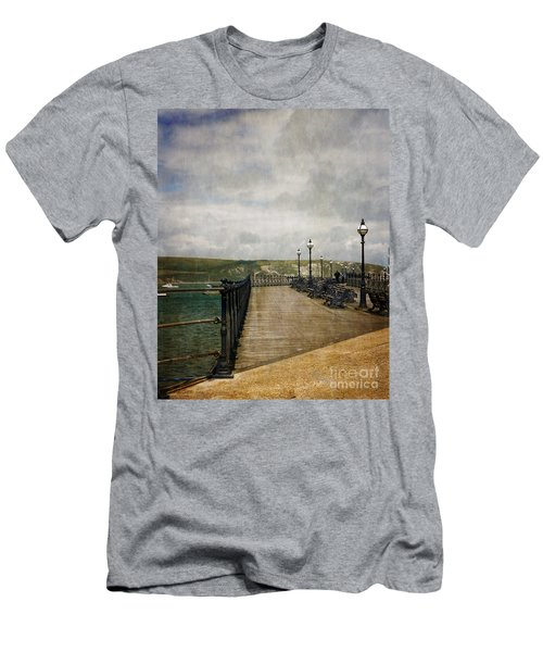 Men's T-Shirt (Slim Fit) featuring the photograph Textures On Swanage Pier by Linsey Williams