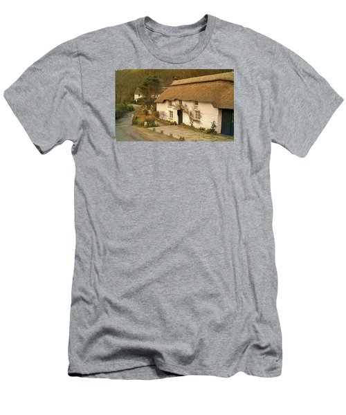Thatched Cottage By Ford  Men's T-Shirt (Slim Fit) by Richard Brookes