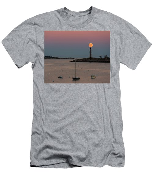 The 2016 Supermoon Balancing On The Marblehead Light Tower In Marblehead Ma Men's T-Shirt (Athletic Fit)