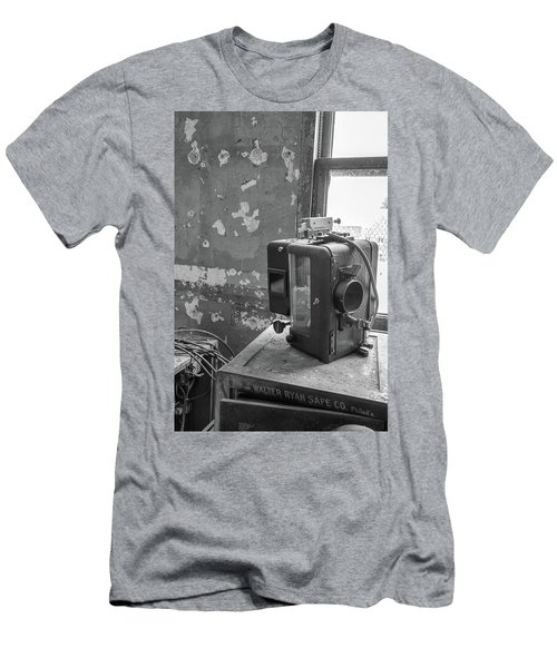 Men's T-Shirt (Athletic Fit) featuring the photograph The Abandoned Projector Bw by Kristia Adams