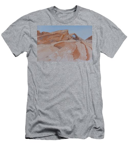 Men's T-Shirt (Athletic Fit) featuring the painting The Arch Rock Experiment - Vi by Joel Deutsch