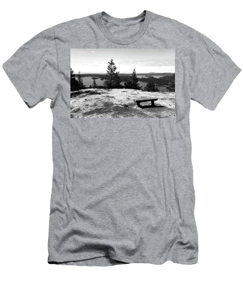 Men's T-Shirt (Athletic Fit) featuring the photograph The Bench Atop Turtleback by Lorraine Devon Wilke