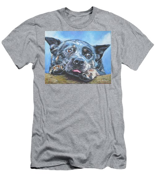 Men's T-Shirt (Slim Fit) featuring the painting The Blue Heeler by Lee Ann Shepard