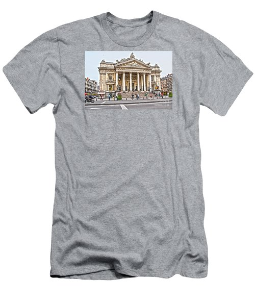 Men's T-Shirt (Slim Fit) featuring the photograph The Bourse In Brussels by Pravine Chester