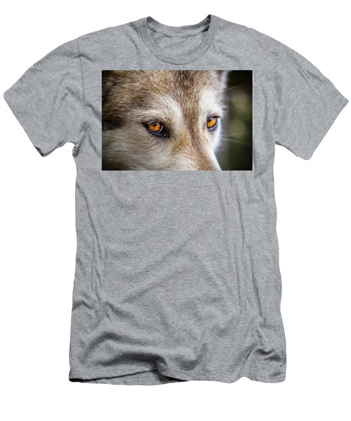 Men's T-Shirt (Slim Fit) featuring the photograph The Eyes Of A Great Grey Wolf by Teri Virbickis