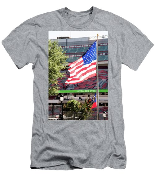 Men's T-Shirt (Slim Fit) featuring the photograph The Flag Flying High Over Sanford Stadium by Parker Cunningham