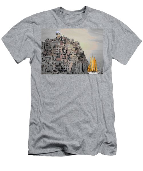 Men's T-Shirt (Slim Fit) featuring the painting The Golden Sails by Mojo Mendiola