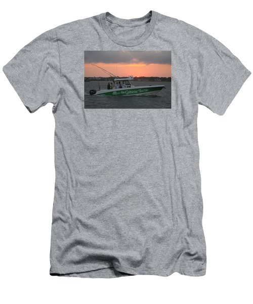 Men's T-Shirt (Slim Fit) featuring the photograph The Greene Turtle Power Boat by Robert Banach
