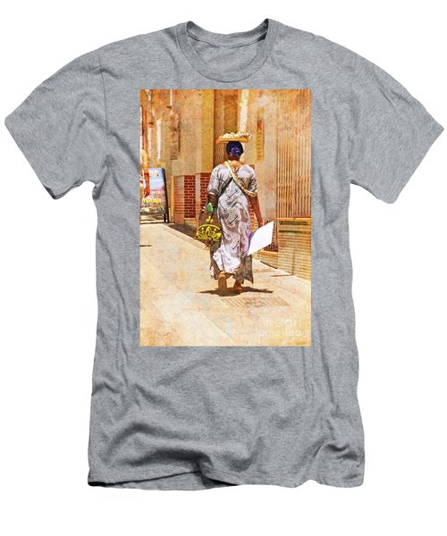 Men's T-Shirt (Slim Fit) featuring the photograph The Jewelry Seller - Malaga Spain by Mary Machare