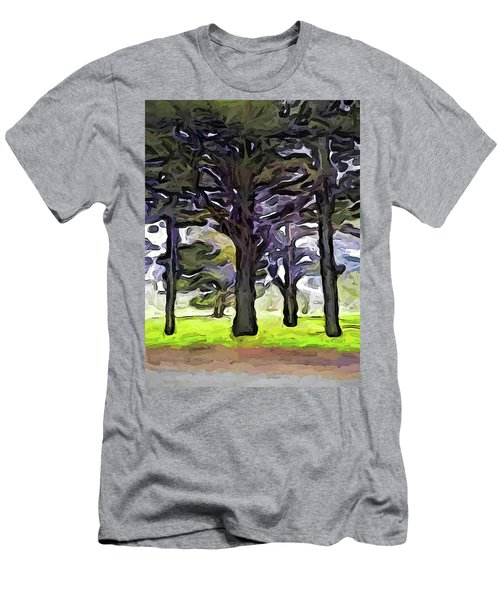 The Landscape With The Trees In A Row Men's T-Shirt (Athletic Fit)