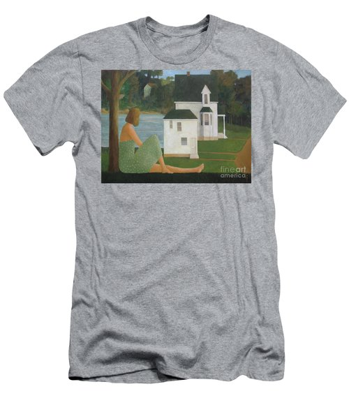Men's T-Shirt (Slim Fit) featuring the painting The Lonely Side Of The Lake by Glenn Quist