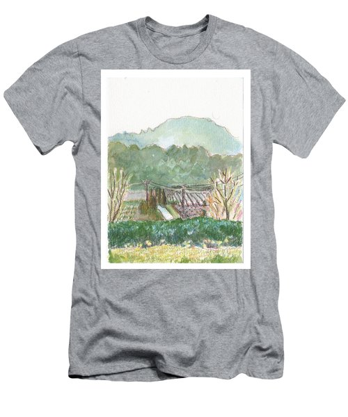Men's T-Shirt (Slim Fit) featuring the painting The Luberon Valley by Tilly Strauss