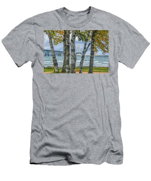 The Mackinaw Bridge By The Straits Of Mackinac In Autumn With Birch Trees Men's T-Shirt (Athletic Fit)