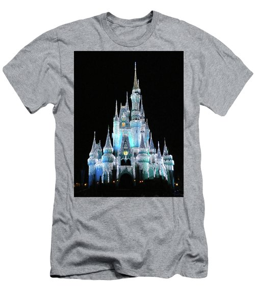The Magic Kingdom Castle In Frosty Light Blue Walt Disney World Mp Men's T-Shirt (Slim Fit) by Thomas Woolworth