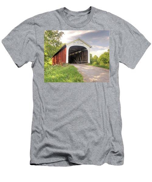 The Mill Creek Covered Bridge Men's T-Shirt (Slim Fit) by Harold Rau