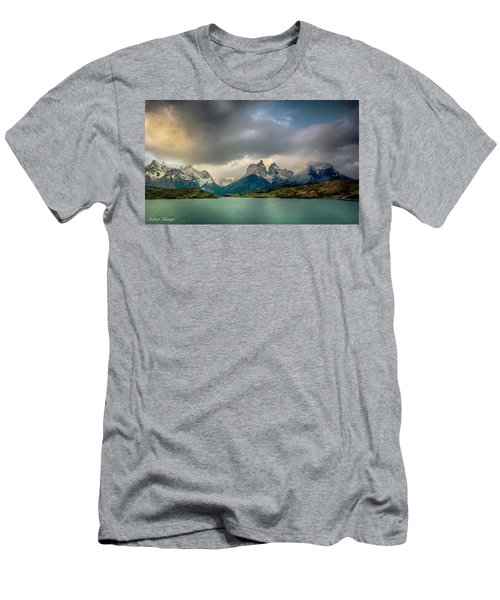 Men's T-Shirt (Slim Fit) featuring the photograph The Mountains On The Lake by Andrew Matwijec