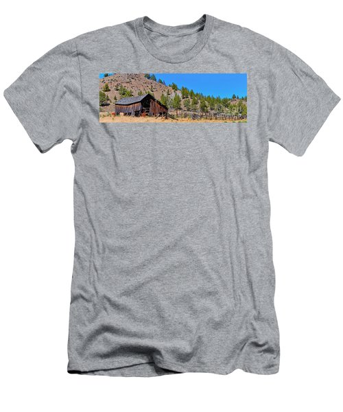 The Old Pine Creek Ranch Barn And Coral Men's T-Shirt (Athletic Fit)