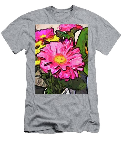 The Pink And Yellow Flowers With The Big Green Leaves Men's T-Shirt (Athletic Fit)