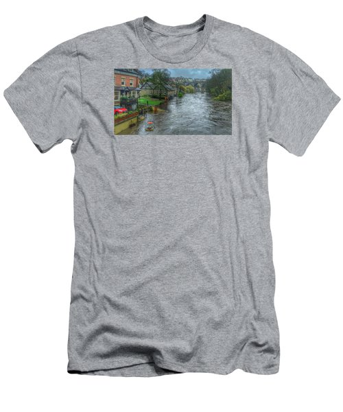 Men's T-Shirt (Slim Fit) featuring the photograph The River Nidd In Flood At Knaresborough by RKAB Works