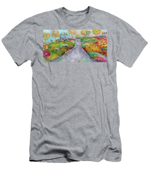 Men's T-Shirt (Athletic Fit) featuring the painting The Road Home by Claire Bull