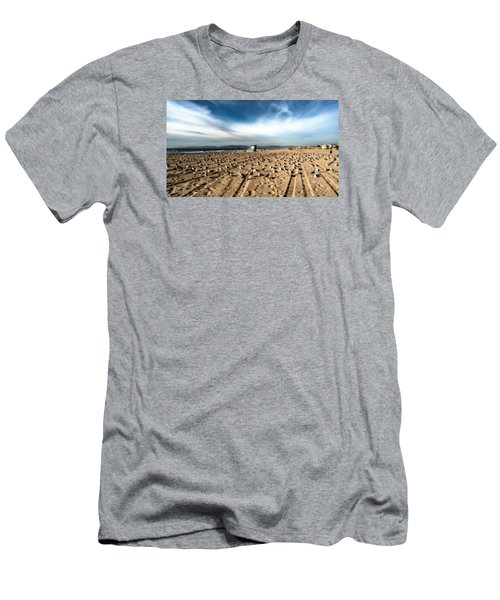 Men's T-Shirt (Athletic Fit) featuring the photograph The Seagulls With Lifeguard Hut by Michael Hope