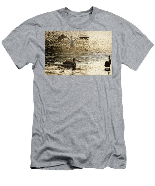 The Spot-billed Pelican Or Grey Pelican  Pelecanus Philippensis  Men's T-Shirt (Athletic Fit)