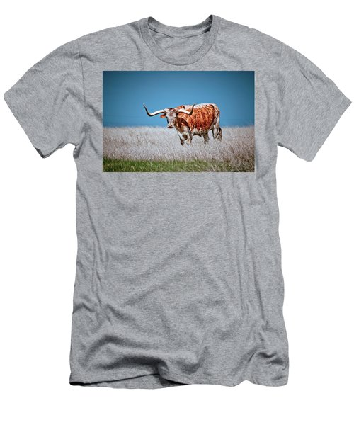 Men's T-Shirt (Slim Fit) featuring the photograph The Texas Longhorn by Linda Unger